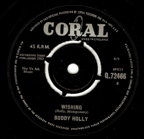 BUDDY HOLLY Wishing Vinyl Record 7 Inch Coral 1963